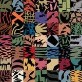 Gebaseerde de lijnen van de borstelteller, lapwerkassemblage in pastelkleuren Stock Foto