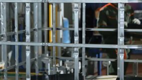 Gebeëindigd Karkas Vervoer door Transportband en Arbeider stock videobeelden