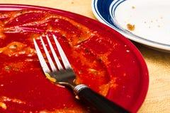 Gebeëindigde Spaghettiplaat royalty-vrije stock afbeeldingen