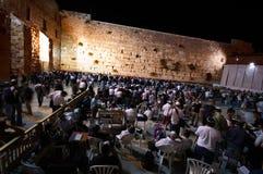 Gebed bij de westelijke muur bij nacht, Jeruzalem, Israël Royalty-vrije Stock Afbeeldingen