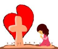 Gebed bij het Kruis Royalty-vrije Stock Afbeelding