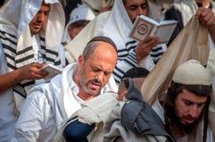 Gebed Hasidspelgrims in traditionele kleren Rosh-Ha-Shana festival, Joods Nieuwjaar royalty-vrije stock foto's