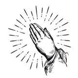 Gebed Schets het bidden handen Vector illustratie die op witte achtergrond wordt geïsoleerdd Stock Foto