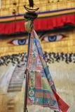Gebedvlaggen en Ogen van Boedha royalty-vrije stock afbeelding