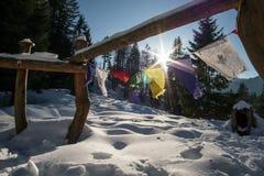 Gebedvlaggen in witte sneeuw Stock Afbeelding