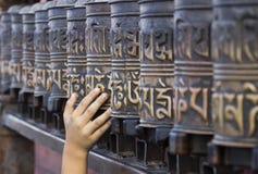 Gebedwielen in Swayambhunath Stock Afbeelding