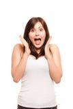 Gebegeisterte junge Frau, getrennt Lizenzfreies Stockfoto