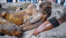 Gebelein mężczyzny mamusia w British Museum Ten mężczyzna umierał 5500 rok w Egipt temu, jego ciało naturalnie mumifikował w gorą obrazy stock