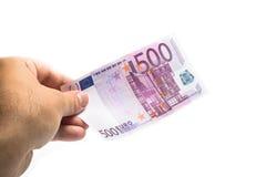 Geben der Banknote des Euros 500 Stockbilder