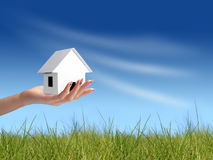 Geben des Konzeptes des neuen Hauses Stockbilder