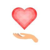 Geben des Liebes- und Herzvektors stock abbildung
