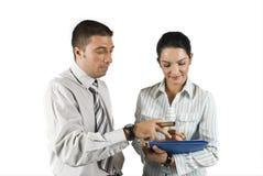 Geben einem Sekretär einer Anmerkung Stockfotos