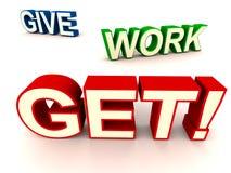 Geben Sie Arbeit erhalten Lizenzfreie Stockbilder