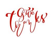 Geben Sie Dank-Freundschafts-Familie positive Zitatdanksagungs-Tagesbeschriftung Kalligraphiegrußkarte oder Plakatgraphik stock abbildung