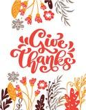 Geben Sie Dank-Kalligraphie-Text mit Blumen und Blättern, der veranschaulichte Vektor lizenzfreie abbildung