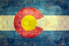 Geben Sie Flagge von Colorado, Weinlese beunruhigte Version an lizenzfreie stockfotos