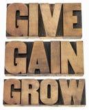 Geben Sie, gewinnen Sie und wachsen Sie Stockfotos