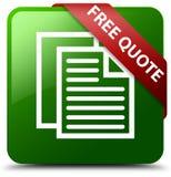 Geben Sie grünen quadratischen Knopf des Zitats frei Lizenzfreies Stockbild
