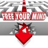 Geben Sie Ihren Sinneswort-Pfeil frei, der durch Maze Creative Imagin bricht Stockfotografie