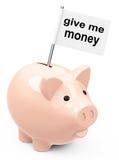 Geben Sie mir Geld Stockbild