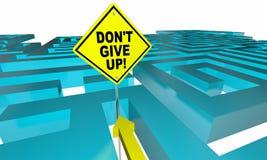 Geben Sie nicht Maze Lost Find Way Positive-Haltung auf Stockbild