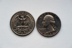 Geben Sie Viertel 25 Cents - 1/4 Dollar USA an Stockbild