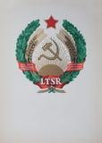 Geben Sie Wappen Litauen unter der UDSSR 1940 - 1991 an Stockfotos