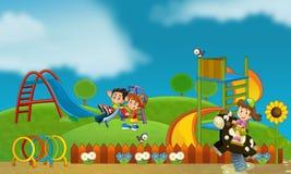 Geben Sie zeit- Kinder am Spielplatz - Illustration für die Kinder frei Lizenzfreies Stockbild