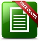 Geben Sie Zitatseitenikonengrün-Quadratknopf frei Stockfoto