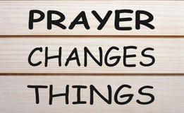 Gebet ändert Sachen stockfoto