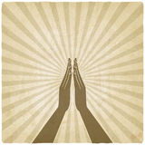 Gebet übergibt Symbol alten Hintergrund Stockfoto