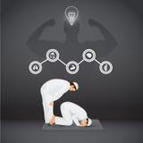 Gebet für gesundes mit Ikonen auf schwarzem Hintergrund Stockfotos