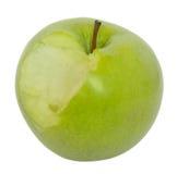 Gebeten groene appel die op wit wordt geïsoleerdp Stock Fotografie