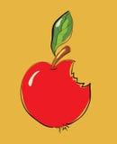 Gebeten Rood Apple-Beeldverhaal Stock Fotografie
