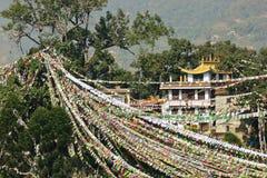 Gebetmarkierungsfahnen in Swayambhunath Stockfotos