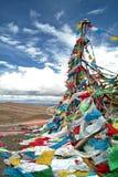 Gebetmarkierungsfahnen in Tibet Lizenzfreie Stockfotos