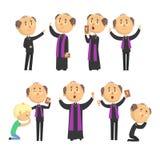 Gebets-, Segengemeindemitglied-, Holding Kreuz-, Bibel- und Evangeliumsatz des katholischen Priesters der Karikatur Lesedes Vekto lizenzfreie abbildung