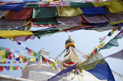 Gebetsflaggen in Kathmandu Nepal Lizenzfreie Stockfotos