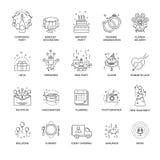 Gebeurtenis en partijlijnpictogrammen voor huwelijk, verjaardag of collectieve amusementsdienst worden geplaatst die vector illustratie