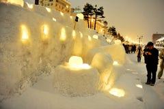Gebeurtenis van de Weg van de Sneeuw van Otaru de Lichte Stock Afbeeldingen