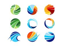 Gebied, cirkel, abstract embleem, globaal, zaken, bedrijf, bedrijf, oneindigheid, Reeks van het ronde vectorontwerp van het picto Stock Fotografie