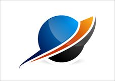 Gebied, cirkelembleem, het globale abstracte bedrijfspictogram en symbool van het bedrijfbedrijf royalty-vrije stock afbeeldingen