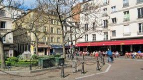 Gebied Contrescarpe en Rue Mouffetard in Parijs Stock Foto's
