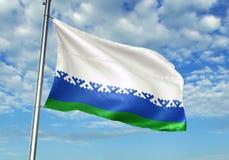Gebied die van het Nenets het Autonome District van de Vlag van Rusland met hemel op realistische 3d illustratie als achtergrond  vector illustratie