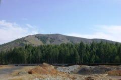Gebied en bos op de mooie bergen als achtergrond Stock Foto