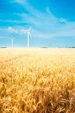 Gebied en windturbine Stock Foto's