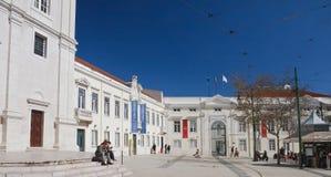 Gebied Largo Trindade Coelho, Lissabon, Portug Royalty-vrije Stock Afbeeldingen