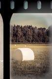 Gebied met balen op oude filmstrook Royalty-vrije Stock Afbeelding