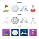 Gebied met een gat en een vlag, een golfbal, een golfspeler, een elektrische golfkar Pictogrammen van de golfclub de vastgestelde royalty-vrije illustratie