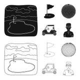 Gebied met een gat en een vlag, een golfbal, een golfspeler, een elektrische golfkar Pictogrammen van de golfclub de vastgestelde stock illustratie
